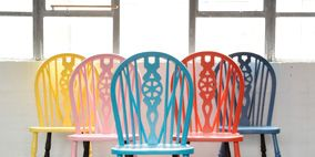 Blue, Wood, Floor, Room, Red, Flooring, Furniture, Chair, Line, Orange,