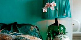 Blue, Room, Textile, Turquoise, Teal, Interior design, Pattern, Lamp, Home accessories, Linens,