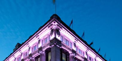 Architecture, Facade, Purple, Commercial building, Building, Landmark, Mixed-use, Violet, Evening, Headquarters,