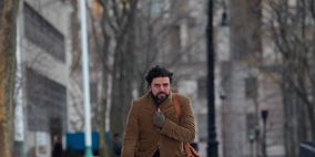 Winter, Brown, Textile, Photograph, Standing, Freezing, Snow, Bag, Style, Street fashion,