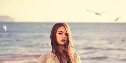Sleeve, People on beach, People in nature, Summer, Bird, Ocean, Beach, Sea, Sunlight, Long hair,
