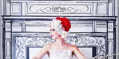 Pink, Headgear, Lipstick, Headpiece, Costume accessory, Dress, Hair accessory, Embellishment, Rectangle, Costume,