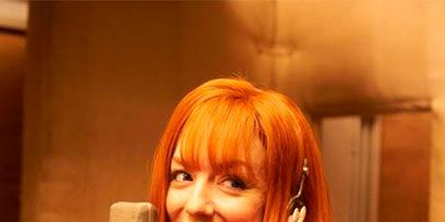 Hairstyle, Bangs, Bob cut, Hair coloring, Blond, Layered hair, Red hair, Wig, Portrait photography, Feathered hair,