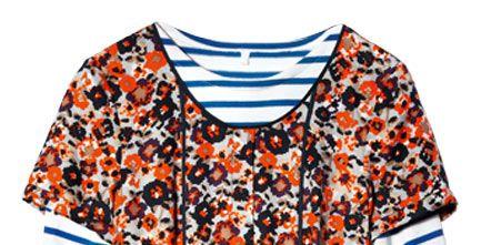 Clothing, Blue, Product, Orange, Sleeve, Collar, Pattern, Textile, White, Style,