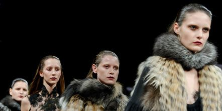 Nose, People, Textile, Fur clothing, Winter, Natural material, Fashion, Animal product, Dress, Street fashion,