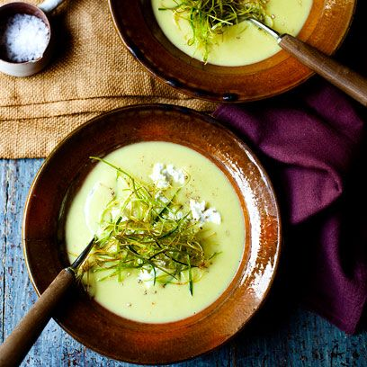 Potato And Leek Soup With Leek And Goats Cheese