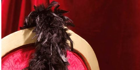 Red, Costume accessory, Magenta, Carnivore, Liver, Fur, Feather, Ribbon, Natural material, Christmas,