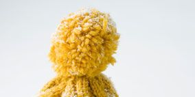 Product, Yellow, Textile, Wool, Toy, Crochet, Woolen, Costume accessory, Beige, Knitting,
