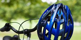 Bicycle accessory, Iron, Bicycle handlebar, Bicycle part, Cobalt blue, Metal, Symbol, Bicycles--Equipment and supplies, Bicycle, Bicycle tire,