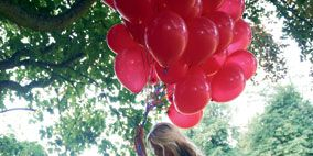 Nature, Balloon, Mammal, People in nature, Party supply, Beauty, Morning, Spring, Long hair, Split-rail fence,