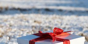 Blue, Ribbon, Red, Gift wrapping, Carmine, Winter, Present, Snow, Maroon, Paper product,
