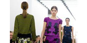 Clothing, Shoulder, Joint, Waist, Style, Pattern, Purple, Dress, Fashion show, Fashion,