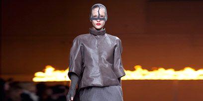 Joint, Boot, Knee, Fashion show, Runway, Fashion model, Street fashion, Fashion design, Leather, Mask,