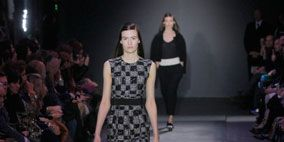 Clothing, Footwear, Event, Fashion show, Shoulder, Dress, Runway, Joint, Outerwear, Fashion model,