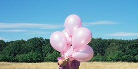Balloon, Pink, Summer, Plain, Grassland, Magenta, Field, Grass family, Party supply, Meadow,
