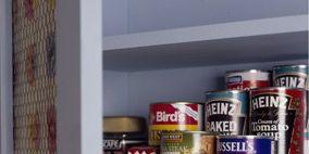 Aluminum can, Metal, Tin can, Paint, Shelving, Tin, Cylinder, Food storage, Shelf, Beverage can,