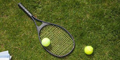 Sports equipment, Grass, Green, Human leg, Soft tennis, Tennis Equipment, Ball, Tennis, Tennis ball, Racquet sport,