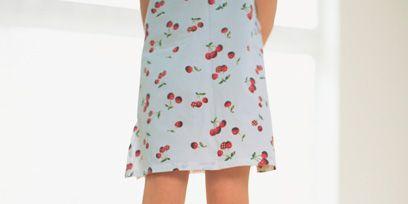 Clothing, Pattern, Day dress, Knee, Street fashion, One-piece garment, Peach, Foot, Brush, Fashion design,