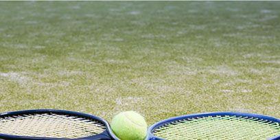 Blue, Grass, Daytime, Sports equipment, Sport venue, Soft tennis, Tennis racket, Racketlon, Strings, Tennis,