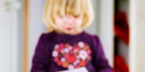 Sleeve, Sitting, Denim, Child, Flooring, Jeans, Baby & toddler clothing, Bangs, Toddler, Blond,