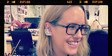 Eyewear, Glasses, Vision care, Sleeve, Earrings, Happy, Facial expression, Jaw, Tooth, Polka dot,