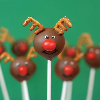 Red-Nosed Reindeer cake pops