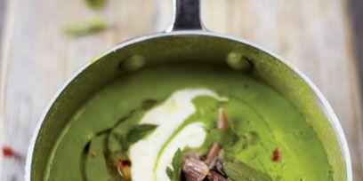 Green, Food, Soup, Fluid, Dish, Recipe, Green curry, Serveware, Pea soup, Garnish,