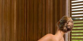 Brown, Hairstyle, Shoulder, Interior design, Hardwood, Amber, Window blind, Window covering, Wood stain, Back,
