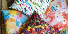 Pattern, Orange, Creative arts, Visual arts, Pattern, Craft, Linens, Cushion, Motif, Triangle,