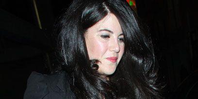 Lip, Eyebrow, Hand, Black hair, Blazer, Lipstick, Drink, Eyelash, Long hair, Bracelet,