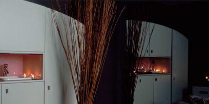 Lighting, Room, Property, Textile, Interior design, Linens, Bed, Amber, Home, Light,
