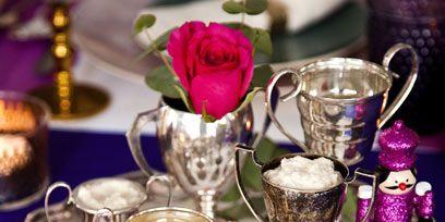 Serveware, Purple, Pink, Drinkware, Petal, Magenta, Violet, Interior design, Barware, Centrepiece,