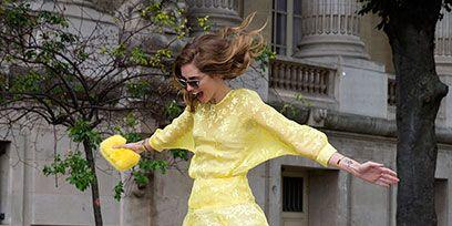 Yellow, Dress, Human leg, Street fashion, Waist, One-piece garment, Dance, Day dress, Dancer, Ankle,
