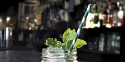 Green, Leaf, Glass, Flowering plant, Herb, Still life photography, Transparent material, Annual plant, Peppermint, Vase,