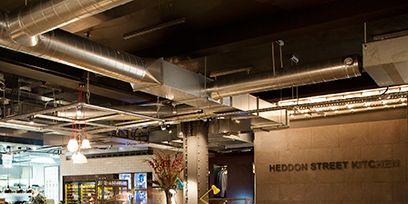 Lighting, Table, Furniture, Interior design, Ceiling, Restaurant, Chair, Light fixture, Hall, Beam,