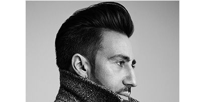 Hairstyle, Collar, Facial hair, Style, Monochrome photography, Jaw, Black-and-white, Monochrome, Black hair, Quiff,