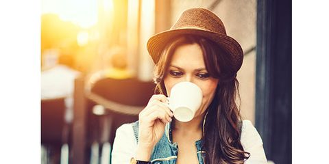 Hat, Hand, Street fashion, Cup, Serveware, Sun hat, Coffee cup, Fedora, Long hair, Selfie,