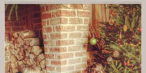 Christmas decoration, Brick, Holiday, Interior design, Living room, Home, Ornament, Christmas, Christmas ornament, Brickwork,