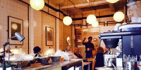Lighting, Ceiling, Room, Light fixture, Lighting accessory, Lantern, Cooking, Interior design, Countertop, Cook,