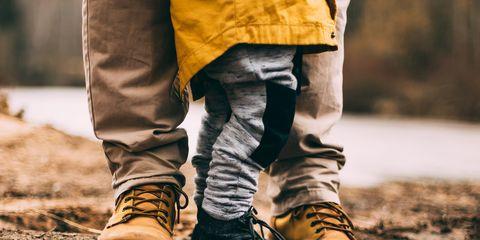 Human leg, Footwear, Yellow, Jeans, Leg, Shoe, Tree, Leaf, Soil, Joint,