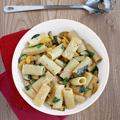 GordonRamsay's rigatoni with yellow and green courgettes