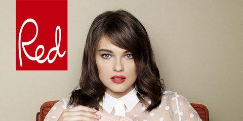 Lip, Sleeve, Collar, Beauty, Fashion, Eyelash, Fashion model, Beige, Waist, Model,