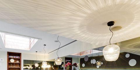 Tablecloth, Room, Interior design, Textile, Ceiling, Light fixture, Furniture, Linens, Interior design, Ceiling fixture,
