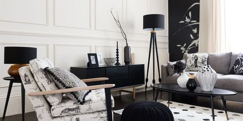 Room, Interior design, Living room, Furniture, Home, Style, Interior design, Wall, Lamp, Black-and-white,