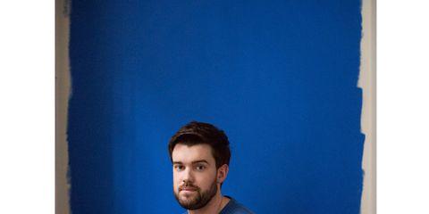 Blue, Shoulder, Sitting, Elbow, Standing, Comfort, Facial hair, Beard, Knee, Azure,