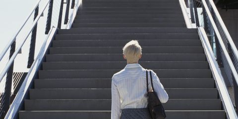 Clothing, Stairs, Sleeve, Human leg, Standing, White, Style, Line, Collar, Street fashion,