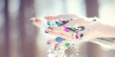 Pink, Party supply, Colorfulness, Glitter, Confetti, Creative arts, Liquid bubble, Jewelry making,