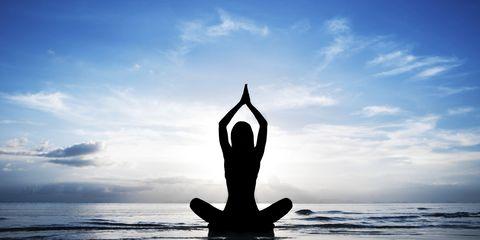Cloud, Yoga, Physical fitness, Exercise, Calm, Barefoot, Active pants, Meditation, Reflection, Balance,