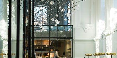 Furniture, Glass, Interior design, Floor, Chair, Hall, Transparent material, Restaurant, Daylighting, Headquarters,