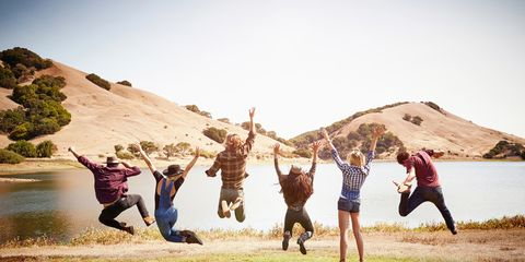 Landscape, Happy, People in nature, Rejoicing, Tourism, Friendship, Youth, Gesture, Fell, Active pants,
